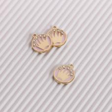Zawieszka emaliowana korona z kryształkami różowy 12mm
