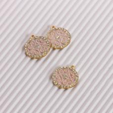 Zawieszka emaliowana ornament z kryształkami różowy 15mm