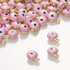 Zawieszka emaliowana oczko różowe  7mm