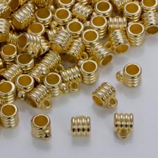 Szeroka krawatka rowkowana do rzemieni w złotym kolorze 6mm