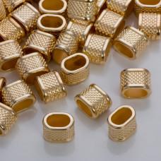 Przekładka w kropeczki do rzemieni w złotym kolorze 14,5x10,5mm