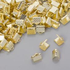 Końcówki zaciskowe szczęki szerokie w złotym kolorze 8x8mm