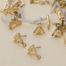 Kolczyki dwa trójkąty z oczkiem 13 mm