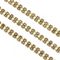 Łańcuszek z kryształkami 2,5mm podwójny