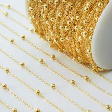 Łańcuszek metalowy z kuleczkami złoty 2x2,5mm