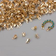 Końcówki do taśm z kryształkami 2mm real gold color