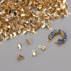 Końcówki do taśm z kryształkami 3mm real gold color