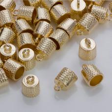 Okrągłe końcówki w kolorze złotym z kropeczkami 9.5mm