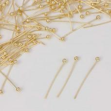 Szpilki z okrągłą główką w kolorze złotym 20mm