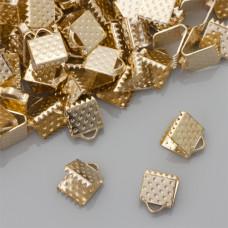 Końcówki zaciskowe szczęki real gold color 6x6mm