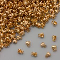 Łapaczki końcówki dziewczynki boczne real gold color 4x2,5mm