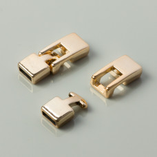 Końcówki akrylowe do rzemieni z zapięciem real gold 27x10mm