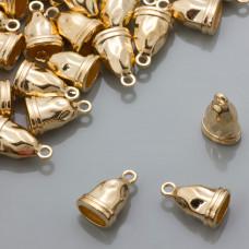Końcówki gniecione płaskie stożki gold color 9x5mm