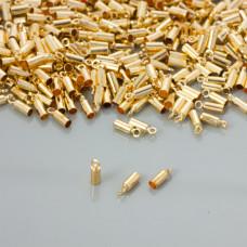 Końcówki do rzemieni kolor złoty 2,5mm