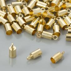 Końcówki do rzemieni i linek w kolorze złotym 3,5mm